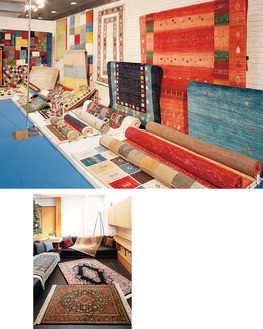選りすぐりの手織絨毯が並ぶ
