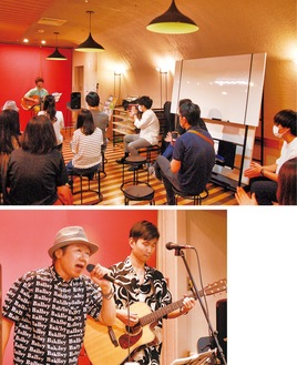 KAISEIさんのライブと会場(上)、歌うトシさんとカンキさん