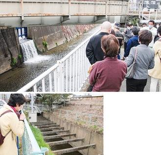 三沢川沿いで水門の動きを確認する参加者(上)、水門開閉によって水の流れが変わる大丸用水=25日