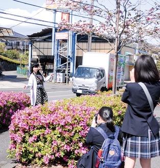ツツジを前に生田高生の撮影に応じる和泉さん