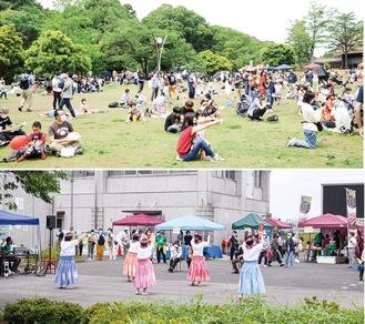 会場となった生田緑地中央広場(上)、二ヶ領せせらぎ館前