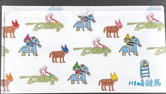 競走馬と騎手が描かれたマスクケース
