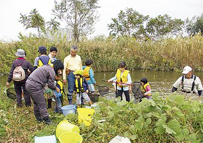 多摩川の池で観察会
