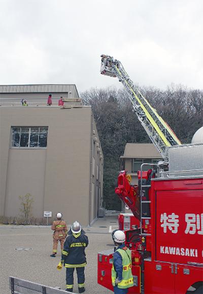 科学館で消防訓練