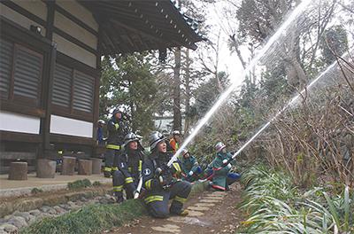 妙楽寺で消火訓練