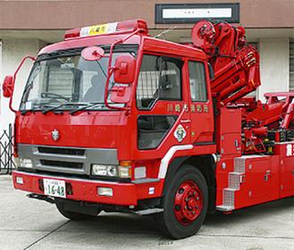 派遣された市消防局の震災工作車