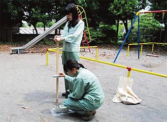 公園で測定を行う担当職員