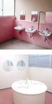 改修前の暗いトイレ(上)と改修後の明るいトイレ(下)