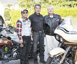 バイクの魅力を語る(左から)春原さん、土橋さん、三澤さん