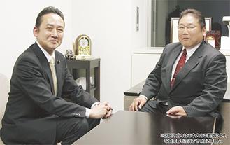 石上としお参議院議員(左)と松井たかし(右)