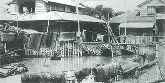 アミガサ事件のきっかけとなった多摩川の洪水(明治末期/提供 下河原小学校)
