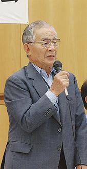 あいさつに立つ廣山会長