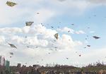 大空に一斉に揚がる凧