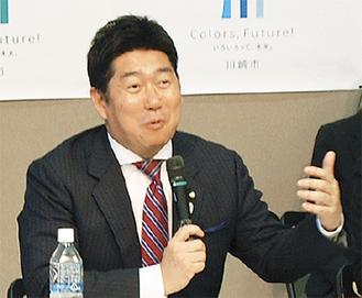 意見を述べる福田市長