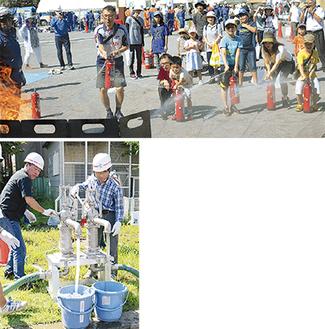 水消火器を体験(上)、組み立てた給水拠点から水をくむ参加者