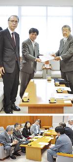 〈上写真〉松原議長(中央)、後藤副議長(左)に決議文を手渡す裵氏〈下写真)意見交換では差別の実態を訴えた