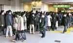 列が発生している平日朝の武蔵小杉駅