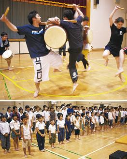 銚子跳ね太鼓の練習に取り組む団員(上)/「はだしのゲン」の合唱構成劇出演者ら