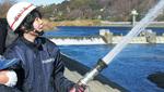 先月の水神祭では禊に合わせ放水を行った
