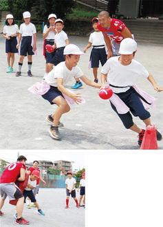 アメフットのフェイントやタックルを練習する児童
