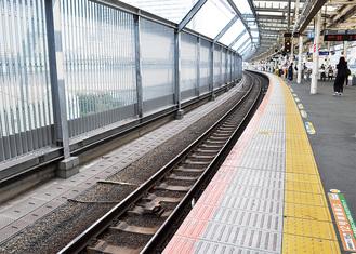 整備される横須賀線のホーム