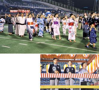 「川崎おどり」を踊る参加者(上)とギネス認定記録員とともに立ち会った日本舞踊・日舞扇乃会会主の花柳錦右さん