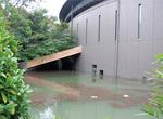 地下部分が浸水した市民ミュージアム(14日撮影)