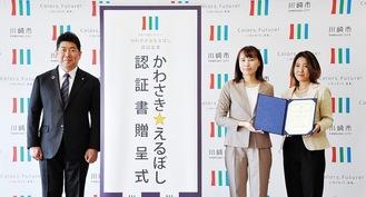 認証書を手に福田市長(左)と記念撮影に臨む出席者