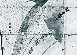 「上丸子村」の表記が残る小杉・等々力村裁許絵図(抜粋)