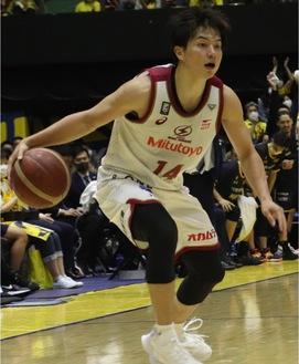 CS準決勝の栃木戦に出場する辻選手(5月22日)=川崎ブレイブサンダース提供