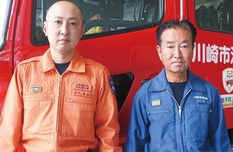 活動した中村さん(右)と松山さん