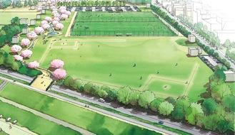 多摩川側から見るイメージ図。河川敷へ向かう陸橋が架かる=川崎市提供