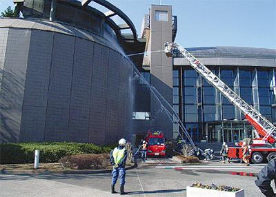 市民ミュージアムで消防訓練