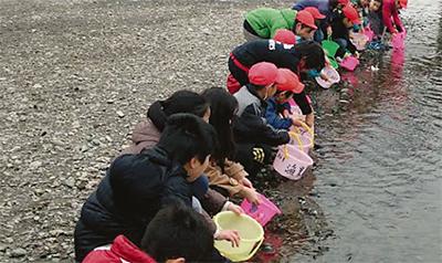 多摩川の生態系学ぶ