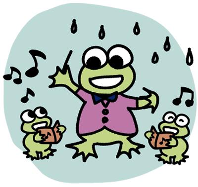 歌で雨を楽しんで