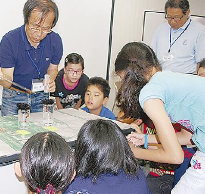 児童がウニの生態観察