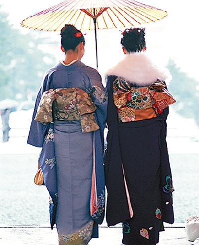 きものを着て川崎を街歩き