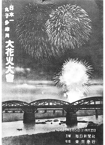昭和25年の丸子多摩川花火大会のポスター(転載:『中原街道と武蔵小杉』より)