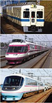上から、通勤車両5000形、ロマンスカー・HiSEとRSE