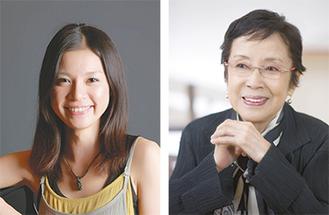 文化賞を受賞した奈良岡さん(橋本哲)写真左はアゼリア輝賞の細川千尋さん