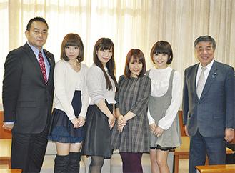 左から浅野議長、長嶺さん、伊東さん、前田さん、伊藤さん、飯塚副議長