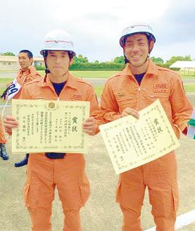 県1位に輝いた柗田消防士と丹野消防士