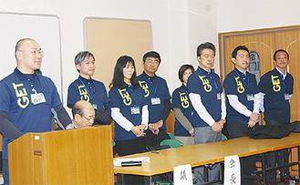 総会で挨拶する林会長(写真左)とGET設立メンバー