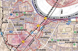 浸水想定区域を表示(川崎区版の一部)