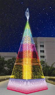 7色に変化しながら輝きを放つメインツリー