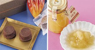 新規認定商品の一部、多摩川梨ジャム(右)と蒸ショコラ=市提供
