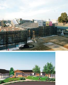 建設が進む黒川駅前(写真上)と完成後のイメージ(同下)