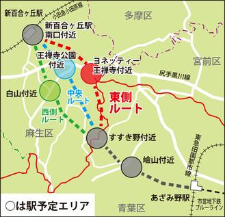公表されているルートと駅位置イメージ