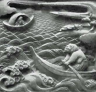 祠堂彫刻のうち丸木舟