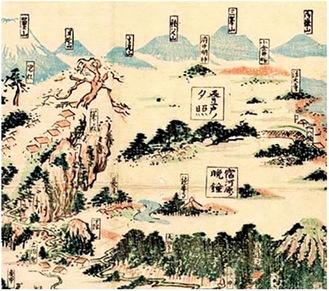 武陽玉川八景に描かれた下げ綱の松